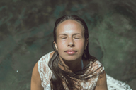 Laos, Woman with closed eyes - AFVF00305