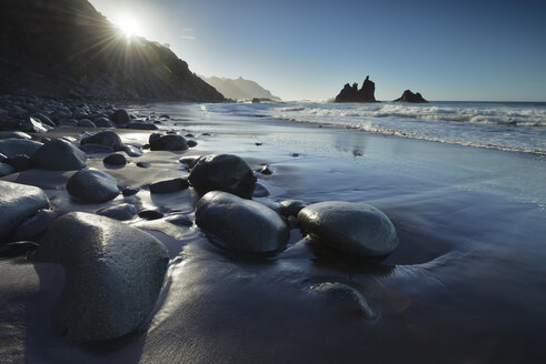 Spain, Canary Islands, Tenerife, Benijo beach at sunset - STCF00442