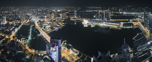 Singapore, Skyline at night with Marina Bay as seen from Alitude Bar - STCF00466