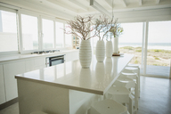 Vases on counter in kitchen with ocean view - CAIF19367