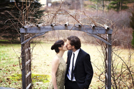 Couple kissing while standing at wooden entrance in park - CAVF10001