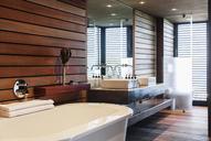 Bathtub and sinks in modern bathroom - CAIF19868
