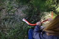 High angle view of girl using hacksaw for cutting Christmas tree - CAVF10421