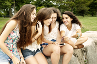 Teenage girl showing mobile phone to female friends while sitting at park - CAVF11190