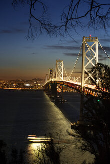 Illuminated Oakland Bay Bridge over sea at night - CAVF12563