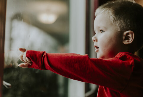 Side view of boy looking through window while standing at home - CAVF12608