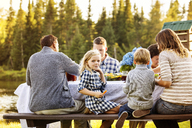 Multi-generation family enjoying at picnic table - CAVF13796