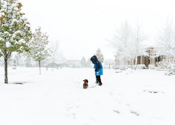Boy with Shih Tzu standing on snow covered field - CAVF14567