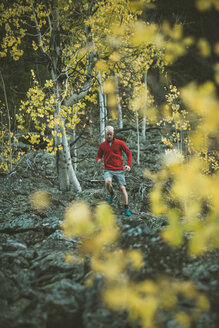Man jogging in forest - CAVF15248