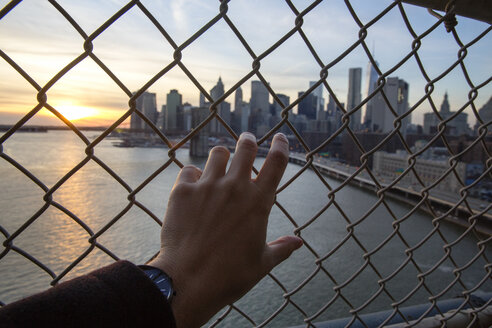 Cropped hand of man holding chainlink fence against one world trade center - CAVF21364