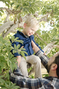 Father assisting son in sitting on tree at backyard - CAVF21724