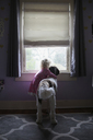 Girl with dog looking through window at home - CAVF23113