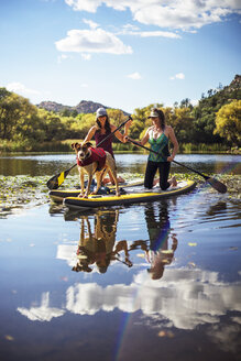Happy friends with dog paddleboarding in lake against sky - CAVF23440