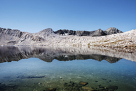 Scenic view of lake and mountain range against clear sky - CAVF23671