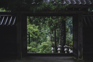 Stone lanterns and trees seen through entrance - CAVF24283