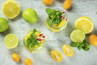 Infused water with lime, lemon, kumquat and mint - JUNF01019
