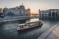 Germany, Berlin, view to Reichstag and Paul Loebe House at sunset - KEB00765