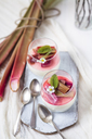 Glasses of Panna Cotta with roasted rhubarb - SBDF03488
