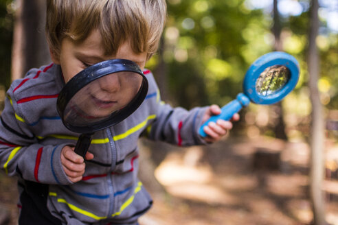 Boy playing with magnifying glass in forest - CAVF24773