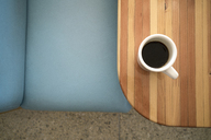 Overhead view of black coffee on restaurant table - CAVF24891
