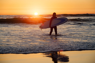 Woman carrying surfboard while walking on shore during sunset - CAVF24954
