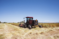 Tractor on agricultural field against blue sky - CAVF25140