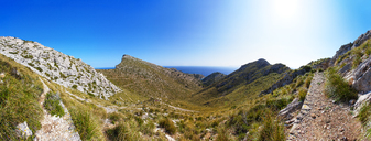 Spain, Balearic Islands, Mallorca, Peninsula Formentor, Panoramic view of hiking trail Cami Vell del Far - WWF04211