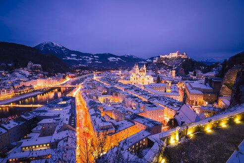 Austria, Salzburg, Hohensalzburg Fortress at night - STCF00499