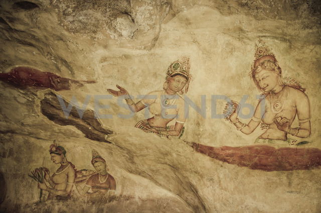 Sri Lanka, Lion Rock, fresco painting, women - STCF00532