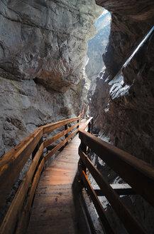 Austria, Salzburg State, Lofer, Vorderkaserklamm, wooden walkway - STCF00565