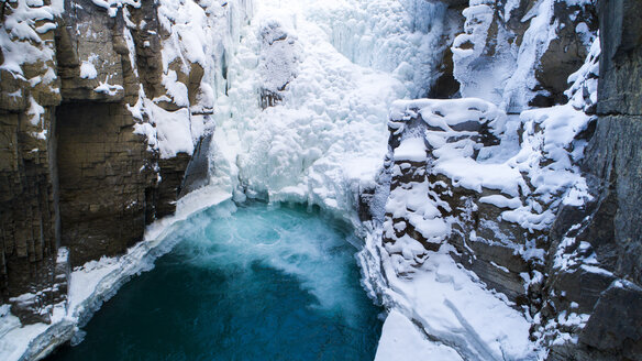 High angle view of frozen waterfall - CAVF27336