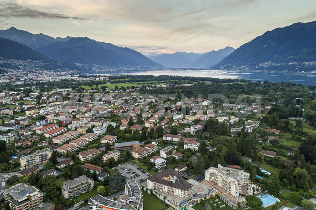 Switzerland, Ticino, Aerial view of Locarno, Lake Maggiore - TAMF00997