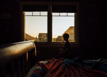 Boy standing by window in dark room - CAVF27516