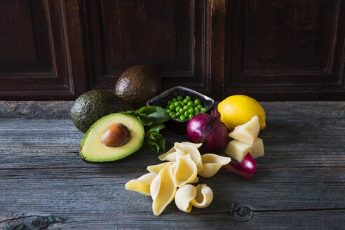 Ingredients of pasta with avocado sauce, peas and parmesan - KSWF01854