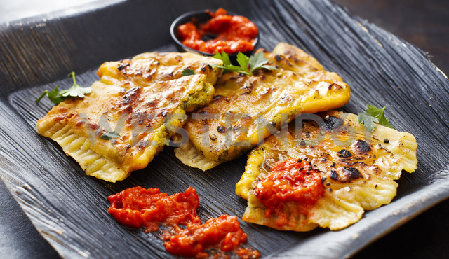 Cheddar Goezleme, grilled stuffed pastry, spicy ajvar - KSWF01863