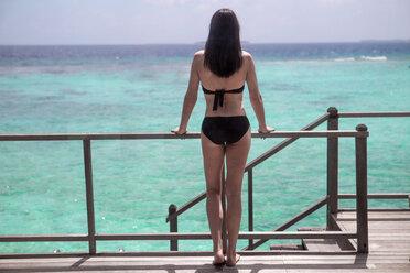 Maldives, woman at the coast looking at view - ZEF15242