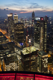 Germany, Hesse, Frankfurt, View from Maintower, Financial district in the evening - WIF03489