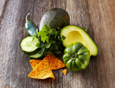 Avocado, tortilla chips, green tomato, jalapenos, cucumber, parsley - KSWF01881