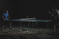 Male friends playing table tennis - CAVF29899