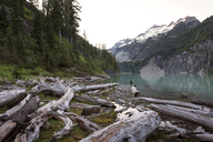 Scenic view of Blanca Lake and mountains against clear sky - CAVF30061