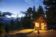 Illuminated wooden cabin in forest at night - CAVF30211