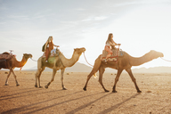 Female friends riding on camels at desert against sky during sunny day - CAVF30724