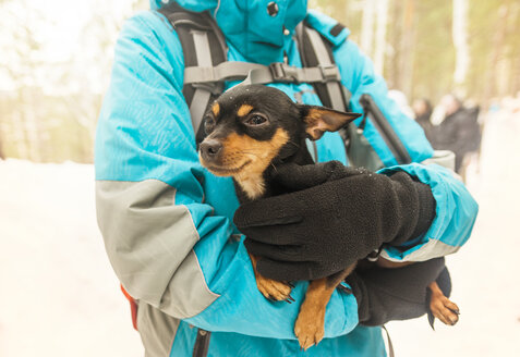 Midsection of woman holding black Chihuahua during winter - CAVF31104