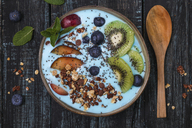 Superfood smoothie bowl with chia seeds, blueberries, nectarine, kiwi and chocolate granola - RTBF01107