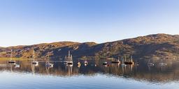 United Kingdom, Scotland, Highland, Ullapool, Loch Broom, fishing and sailing boats - WDF04500