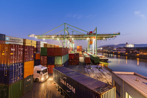 Germany, Stuttgart, Container harbour at Neckar, blue hour - WD04515