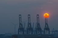 Germany, Hamburg, Port of Hamburg at sunset - KEBF00779