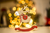 Wooden reindeer figurine, points of light - SARF03629