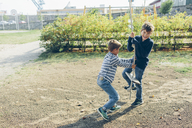 Boys playing with rope swing - FOLF04287