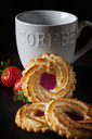 Ox-eye cookies, strawberries and coffee mug - CSF29072